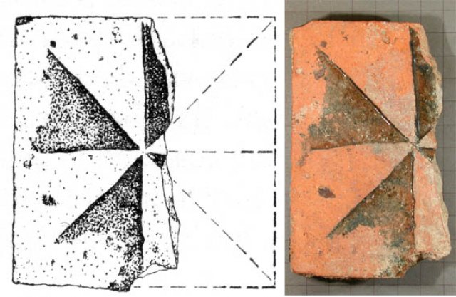 Fig. 6.  Floor-tiles (¼) (Drawn by A. C. Hart)